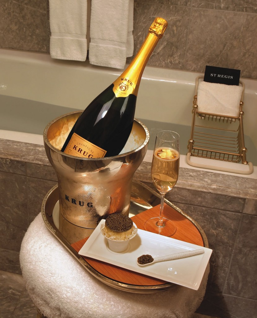 A butler-drawn bath with Champagne