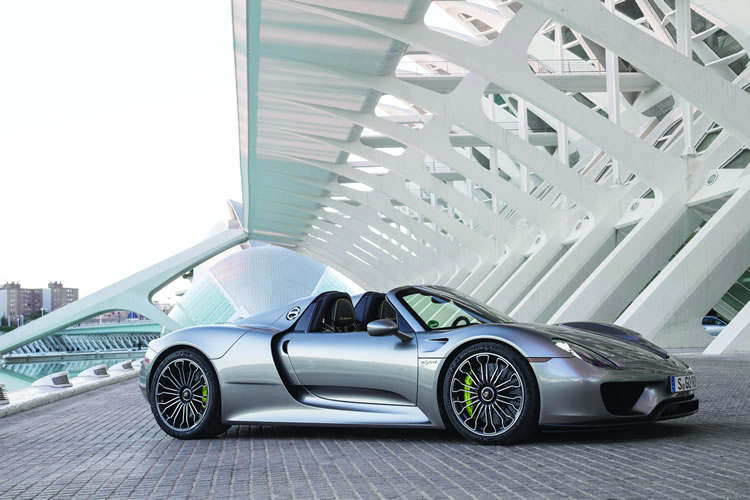 The hybrid Porsche 918 Spyder boasts two electric motors and a 4.6-liter gas tank, which combine for a mammoth 887 horsepower.