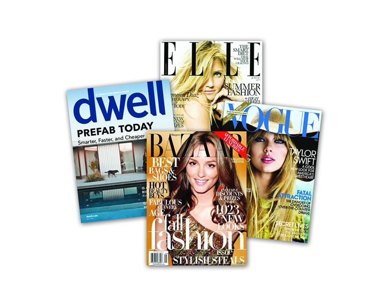 """[On the plane,  my go-to magazines are] Dwell, Elle Decor, Vogue or Bazaar."""