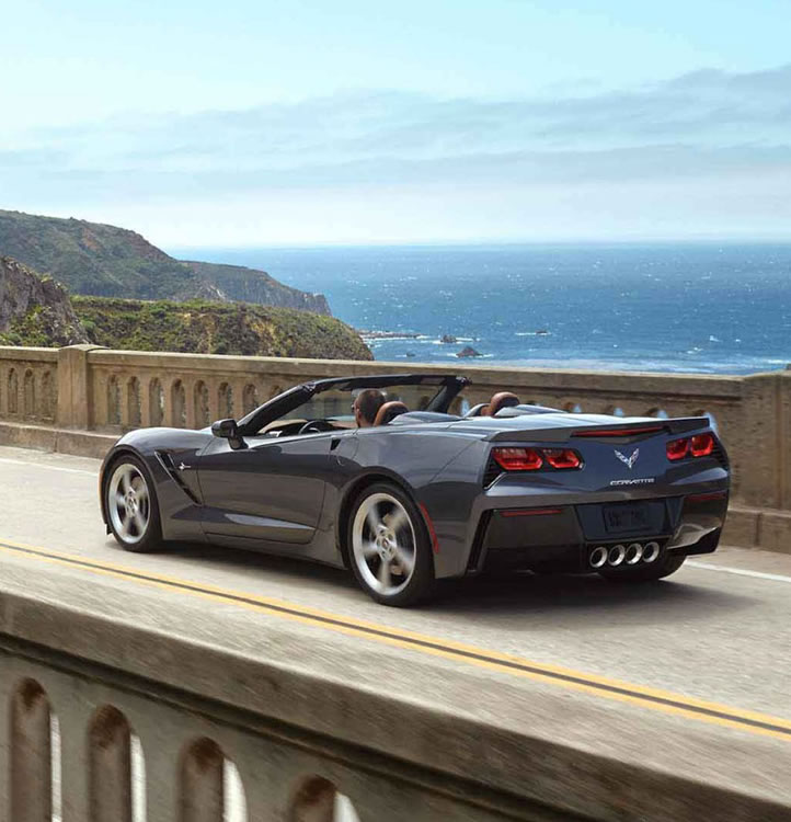 The Chevrolet Corvette Stingray carries a V-8 engine and race-worthy aerodynamics.